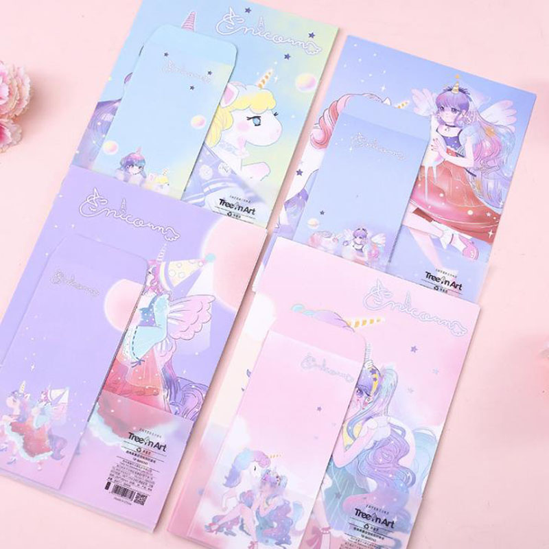 9 Pcs/pack Cute 3 Envelopes + 6 Sheets Letters Paper Unicorn Series Girls Envelope Letter Set For Gift Korean Stationery