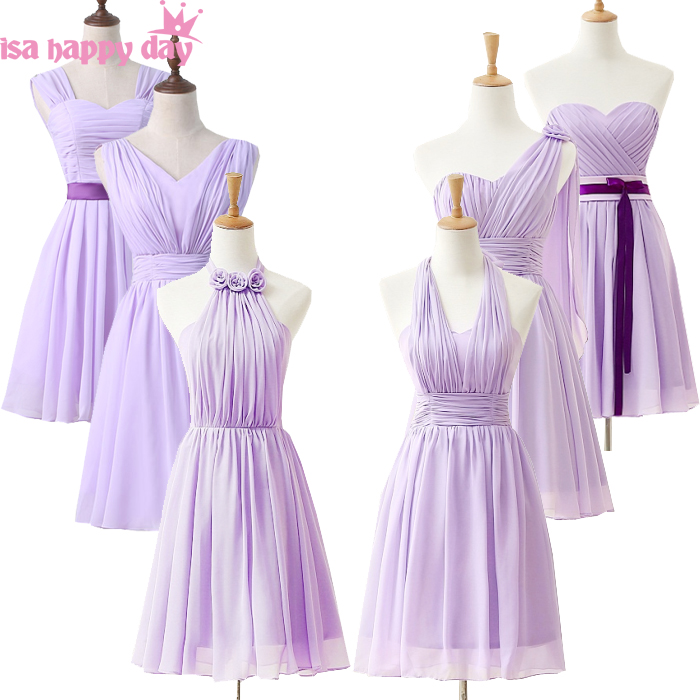2019 Modest Lavender Embellished Women Girls Chiffon Bridesmaid Princess Bridesmaids Dresses Light Purple Dress Short H3845