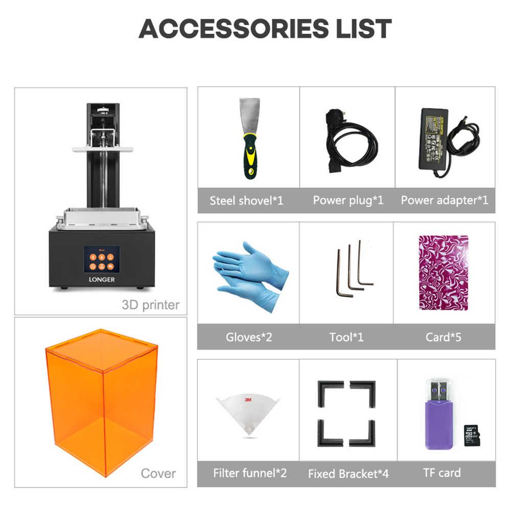 Impresora 3D LONGER Orange10 asequible SLA 3D impresión inteligente soporte rápido rebanado de luz UV curado fácil funcionamiento nivel de entrada