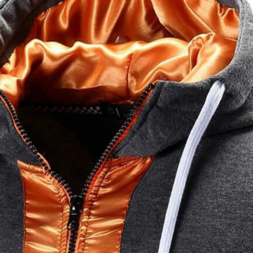 Feitong Swearshirt ジャケット男性秋長袖パッチワークパーカーフード付きスウェットやつヒップホップトップティー生き抜く