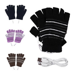 Electric USB heated Gloves Winter Thermal half-finger With full-finger cover rechargeable For outdoor bike cycling indoor office