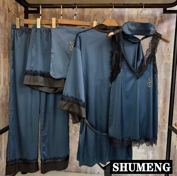 2019 New Spring and Summer High-end Hot Drilled Silk Pyjamas Six Piece Sets Luxury Home Clothes Women's Pajamas Robe Sleepwear
