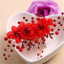 Classic Chinese Red Flower Bride Hair Pins Clips Wedding Jewelry Accessories Bridal Crystal Clip Headwear Headpiece