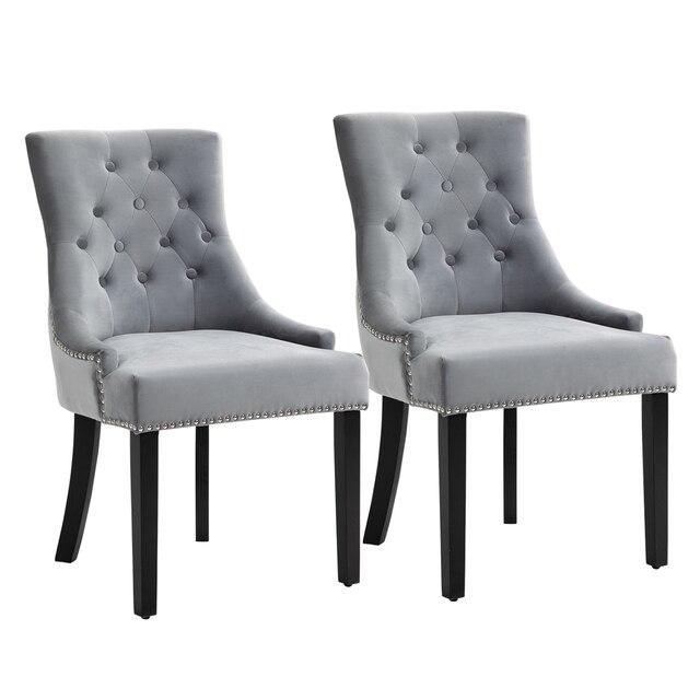 Sigtua 2PCS Upholstered Velvet Dining Chairs Set 1