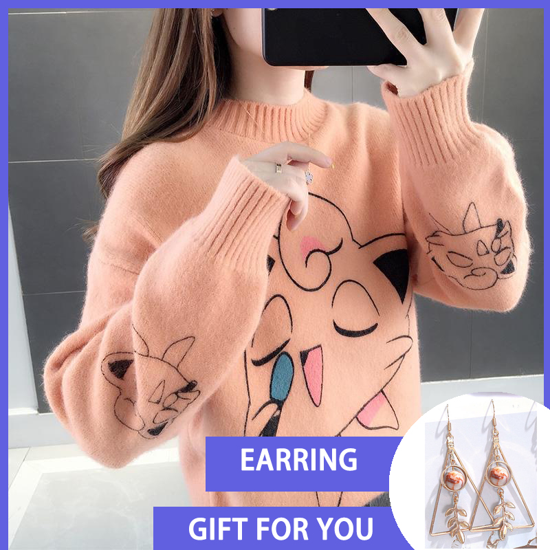 Sweater Women 2019 Cartoon Print Autumn Winter Causal Streetwear Sweater Long Sleeve O Neck Loose Harajuku