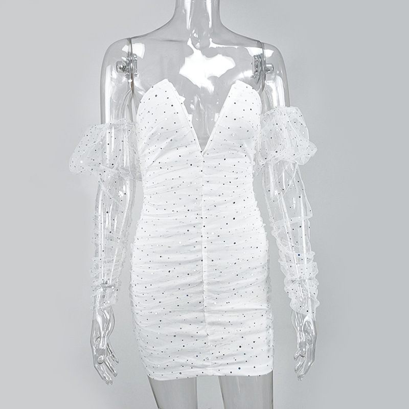 Townlike White Mesh Sequin Long Sleeve Sexy Dress Women Mini Night Club Party Dress Backless V Neck Bodycon Summer Dress Vestido