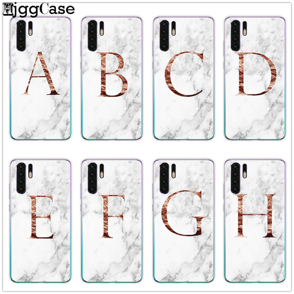 Custom name Letter Monogram rose gold <font><b>marble</b></font> Silicone TPU Phone <font><b>case</b></font> For <font><b>Huawei</b></font> Mate 10 20 30 <font><b>P10</b></font> P20 P30 P9 Lite pro back Cover image
