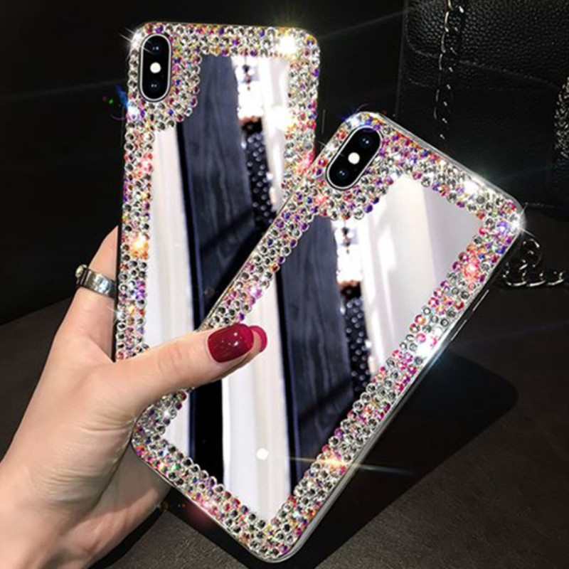 Rhinestone <font><b>Case</b></font> For <font><b>Samsung</b></font> A50 A70 A720 J8 <font><b>S9</b></font> S8 S10 plus J730 A6 Plus S7 J5 J7 Prime s7edge A520 G530 Tempered Glass Coque image