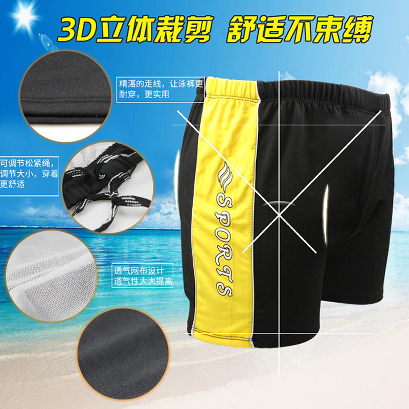 Men Stripes Swimming Trunks-Style Quick-Dry Breathable Boxer Swimming Beach Shorts OPP Bag Swimming Trunks