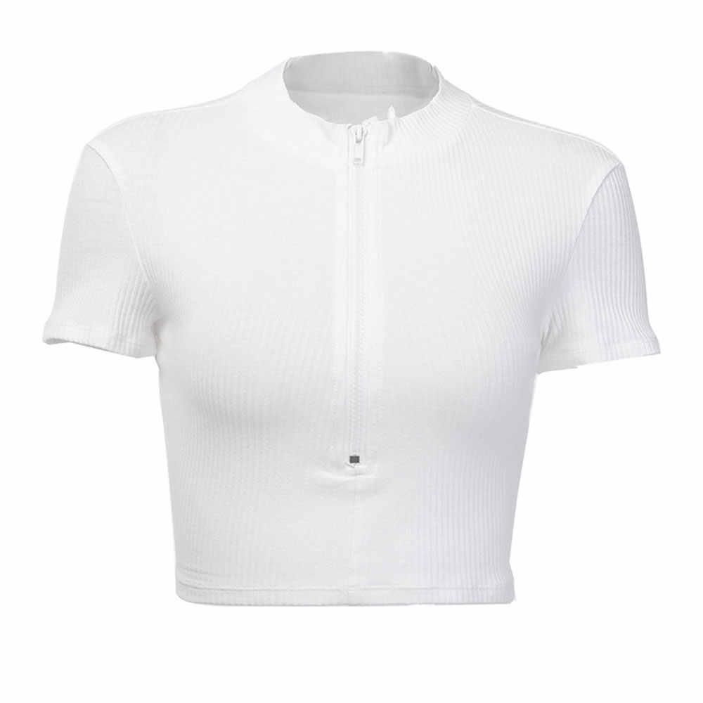 OEAK 2019 Do Sexo Feminino T-shirt Da Forma Colar de Pé Zipper Listrado Colheita Tops Magro Sólidos Sexy Tops T-shirts de Manga Curta Novo