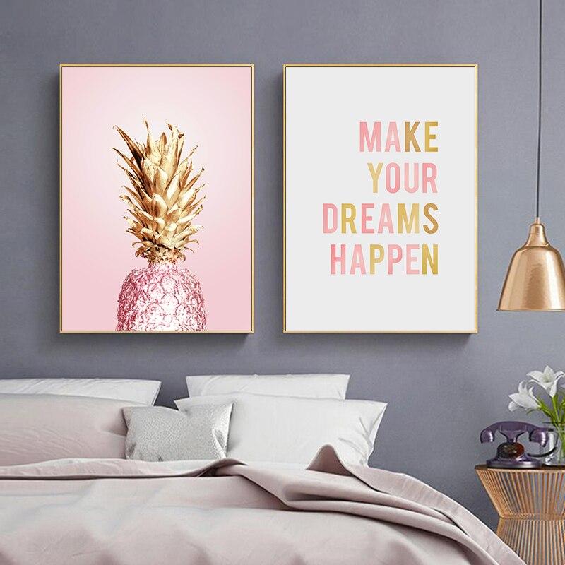 Розовый, золотой, ананас, скандинавский постер, анины, цитата, холст, настенное художественное изображение, домашняя живопись, декоративные картины для декора гостиной