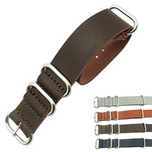 Zulu Leather Watchband NATO Watch Band Strap 18mm 20mm 22mm 24mm Sliver Ring Buckle Men Women High Quality Accessories
