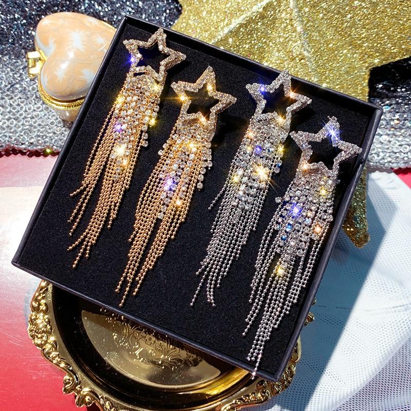 Fashion Long Tassel Crystal Earrings for Women 2019 Bijoux Luxury Shiny Gold Color Star Dangle Earrings Jewelry Gifts