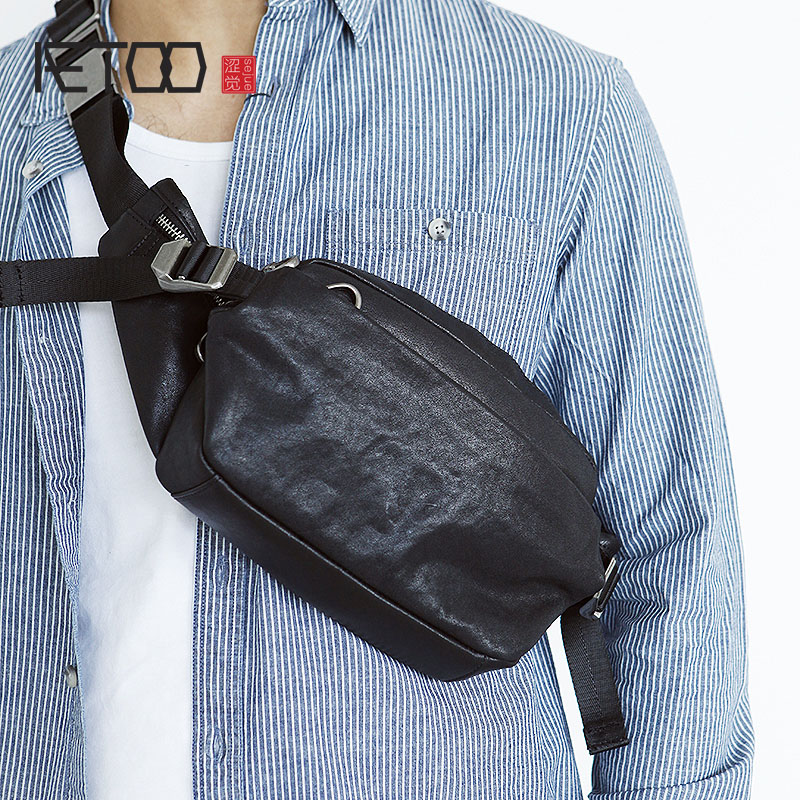 AETOO Leather Chest Bag, Leather Waistband, Simple Men's Bag