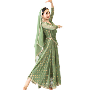 Woman Anna Dancing Performance Salwar Kameez Dress Beautiful Ethnic Style Silk Bronzing India Dress
