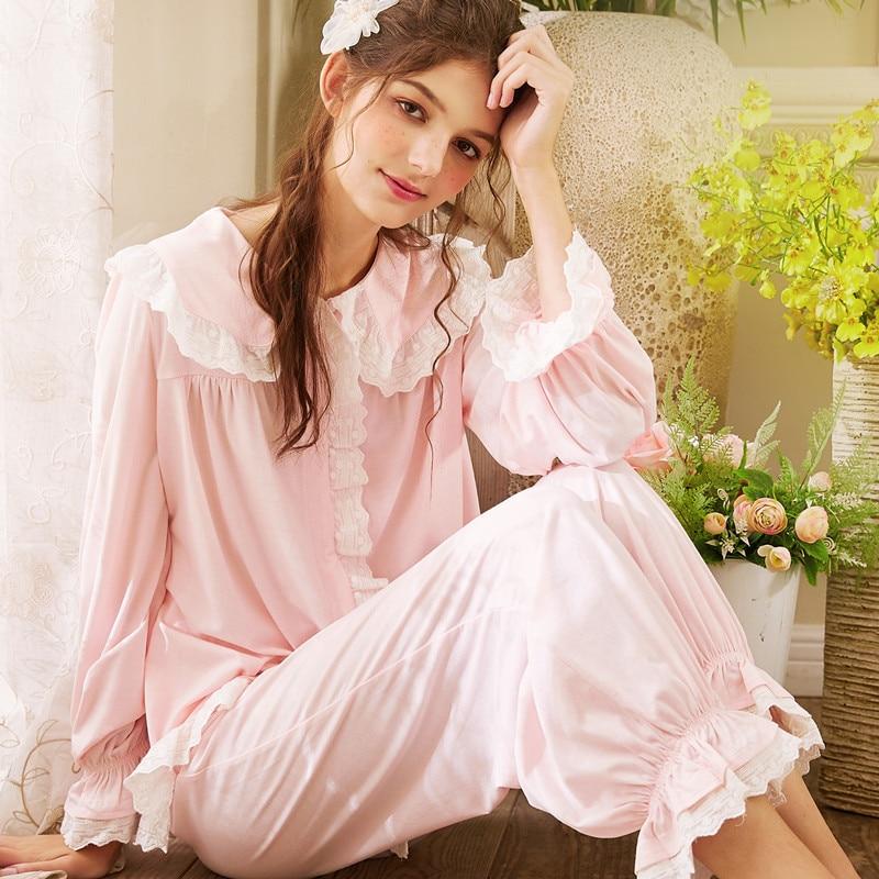 2019 Palace Style Pajamas Autumn And Winter Comfortable Cotton Long Sleeved Trousers Pajama Set Solid Loungewear Women Sleepwear