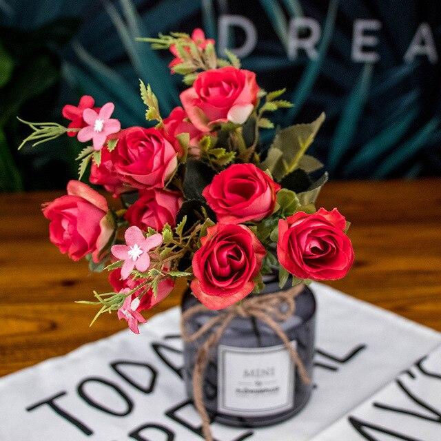5 stücke 10 kopf Künstliche Seide tuch Gefälschte Blumen Blatt Pfingstrose Floral Startseite Hochzeit home Decor Blau Tee rose kleinen blumenstrauß