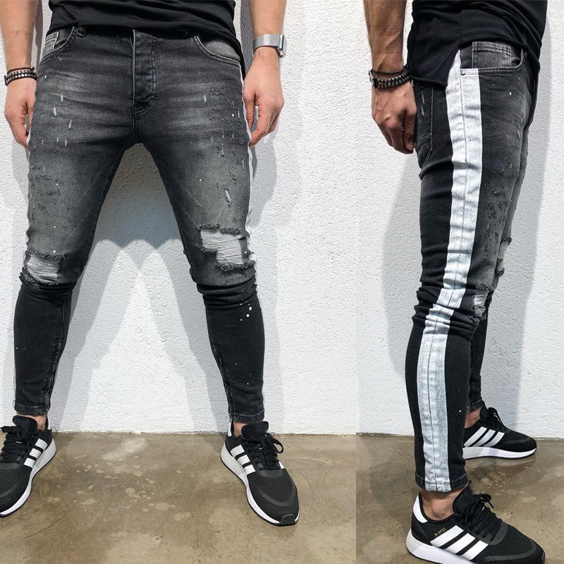 Men's Styles Black Ripped Jeans Homme Popular Trend Slim Fit Denim Long Pants Streetwear Skinny Trousers Mens Jeans Brand