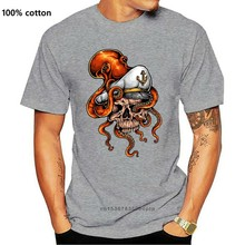 Cráneo marinero con pulpo arte tatuaje mar marino pirata camiseta Unisex camiseta de hip hop camiseta