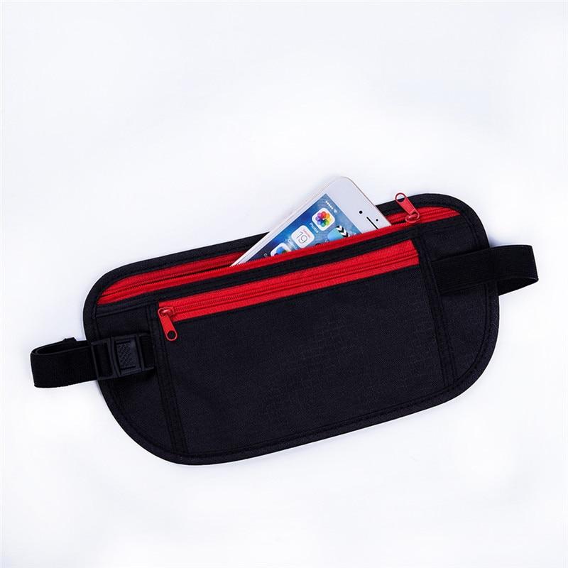 Black Travel Passport Zipper Bag Compact Cash Unisex Zipper Bag Seat Belt Pockets with Adjustable Elastic Strap Safety Belt Bag
