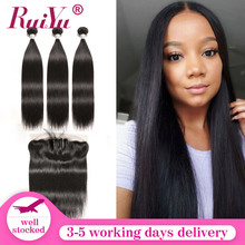 Bundles Frontal Baby Hair-Ruiyu Straight Peruvian with Remy Pre-Plucked