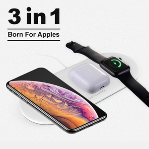 Image 1 - 3 in 1 Qi Wireless Charger Pad for iPhone 11 pro X XS Max XR for Apple Watch 4 3 2 for Airpods 10W Fast Charge For Samsung S10