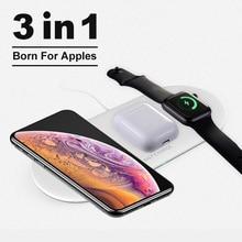 3 in 1 Qi kablosuz şarj pedi iPhone 11 pro X XS Max XR Apple Watch için 4 3 2 Airpods için Samsung için 10W hızlı şarj S10
