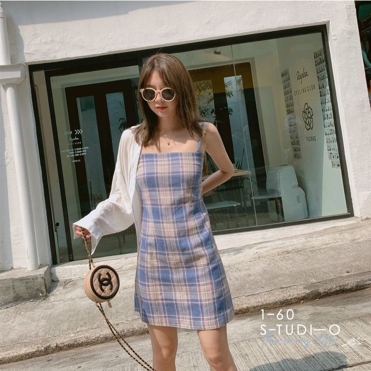 Vintage Sexy Plaid Dress 2020 Summer Women Fashion Bottoming Party Dress  Spaghetti Strap Female Bodycon Sheath Mini Dress