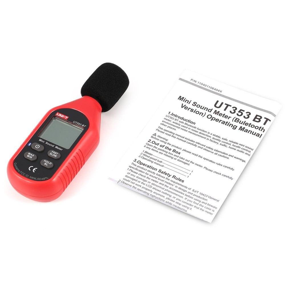 Mini medidor de nivel de sonido LCD Digital Bluetooth Detector de volumen de Audio y ruido probador de monitorización de decibelios 30-130dB