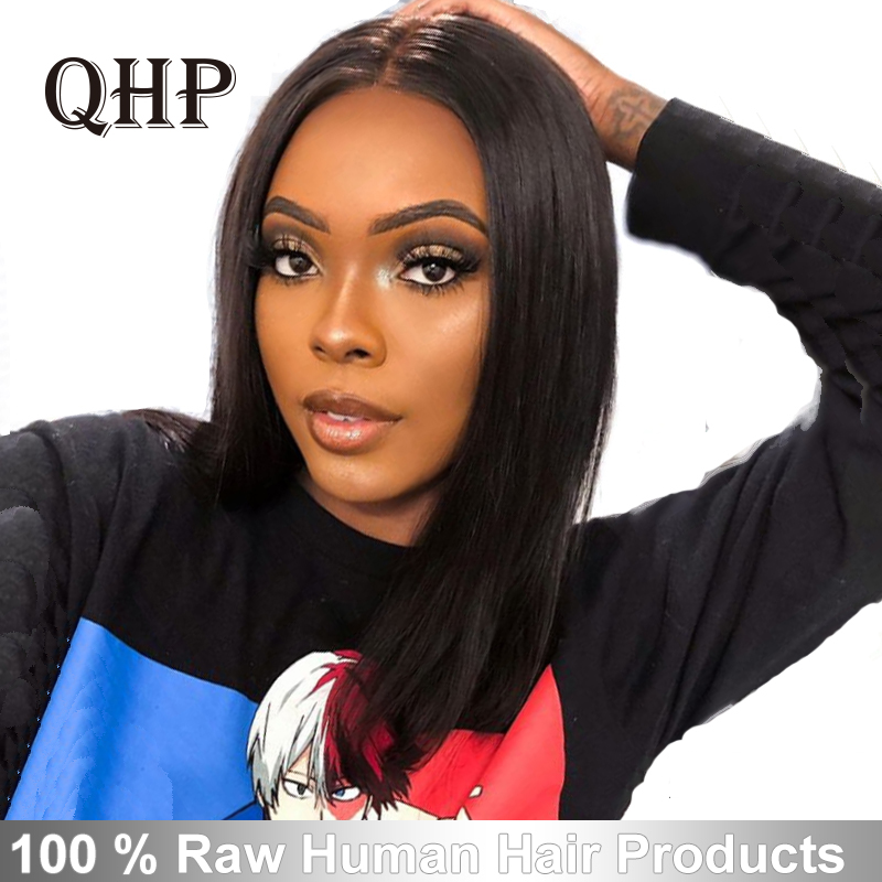 13x4/13x6 Lace Front Wigs 10A 150%/180%/200% Density Brazilian Straight Remy Hair Natural Black Short Bob Wigs