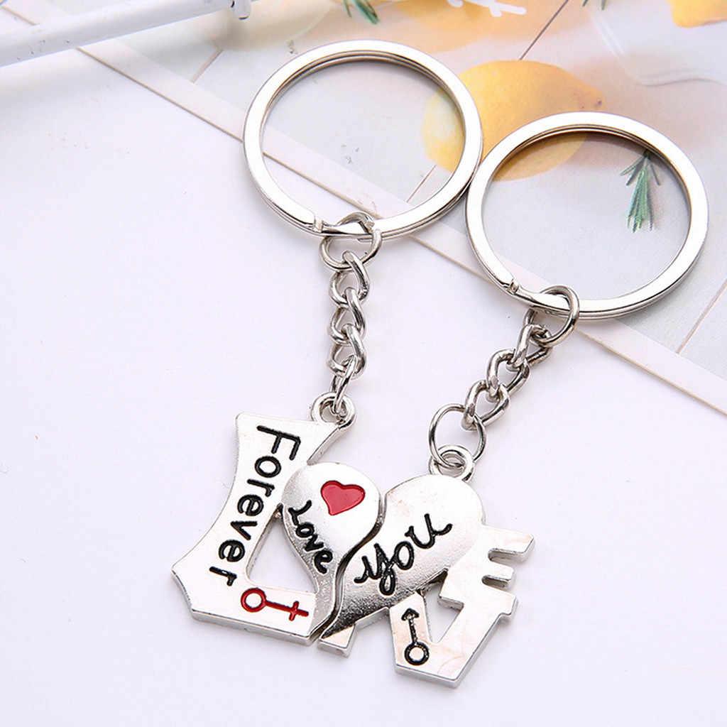 1 คู่คู่กลางแจ้งCampingพวงกุญแจพวงกุญแจแหวนหัวใจสีเงินคนรักLoveพวงกุญแจของที่ระลึกปีนเขาอุปกรณ์เสริม 1016