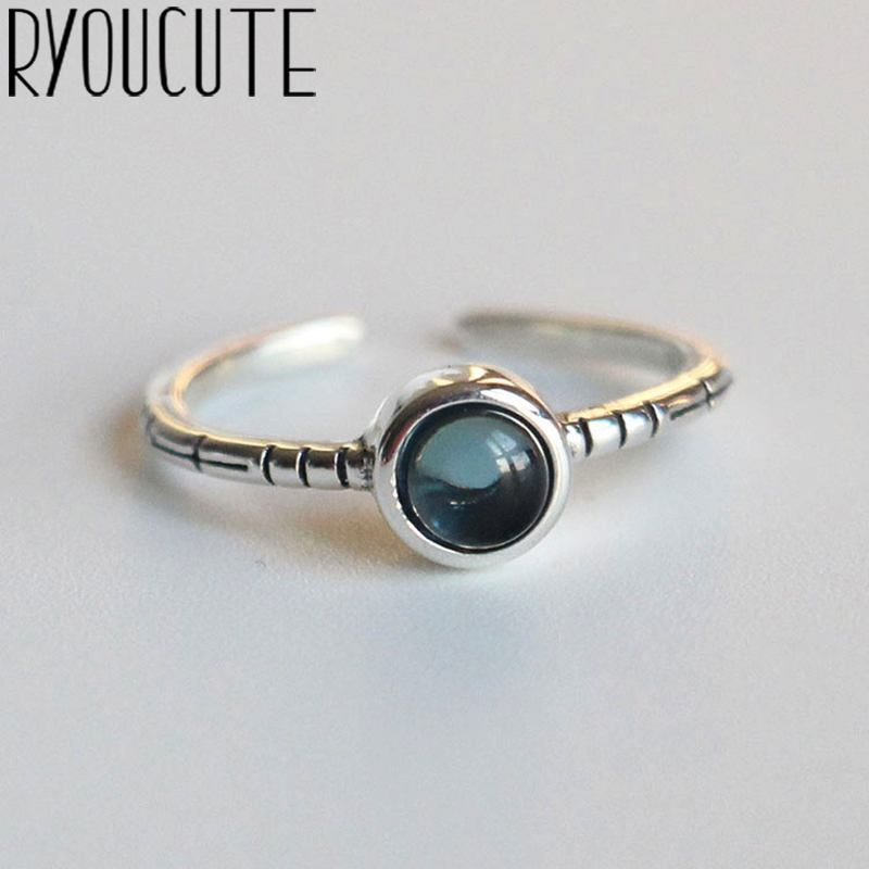 Anillos de cristal azul de Color plateado Vintage para mujer, anillos de tamaño ajustable para hombres y niñas, joyería abierta