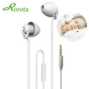 2020 New Sleeping Earphone HiFi Soft Silicone Headset 3.5mm In-Ear Mobile Phone Earphone With Mic Noise Cancelling Earphone