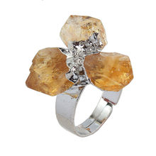 Kraft-beads Silver Plated Resizable 3 Small Irregular Shape Natural Citrines Crystal Finger Ring Ethnic Jewelry(China)