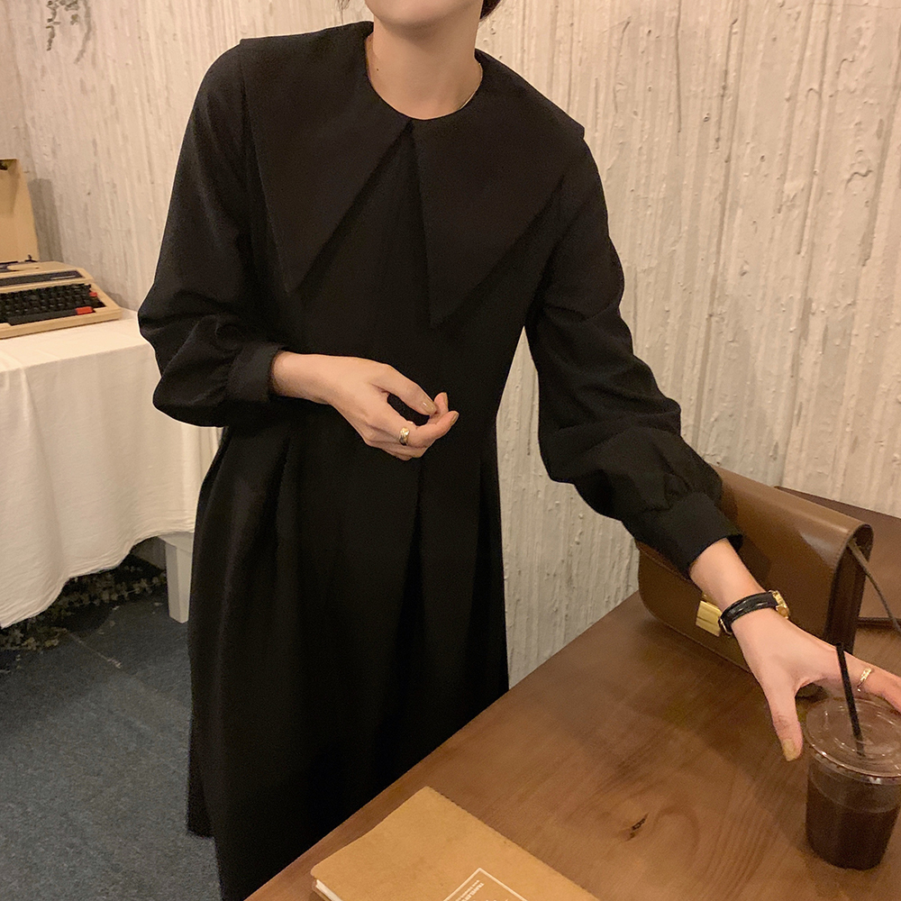 H24d63572976b44c7af4f4a8159c82c17E - Autumn Big Lapel Collar Long Lantern Sleeves Solid Loose Midi Dress