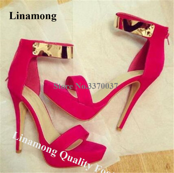 Linamong Women Elegant Open Toe High Platform Stiletto Heel Sandals Ankle Gold Strap Red Blue Back Zipper-up High Heel Sandals фото
