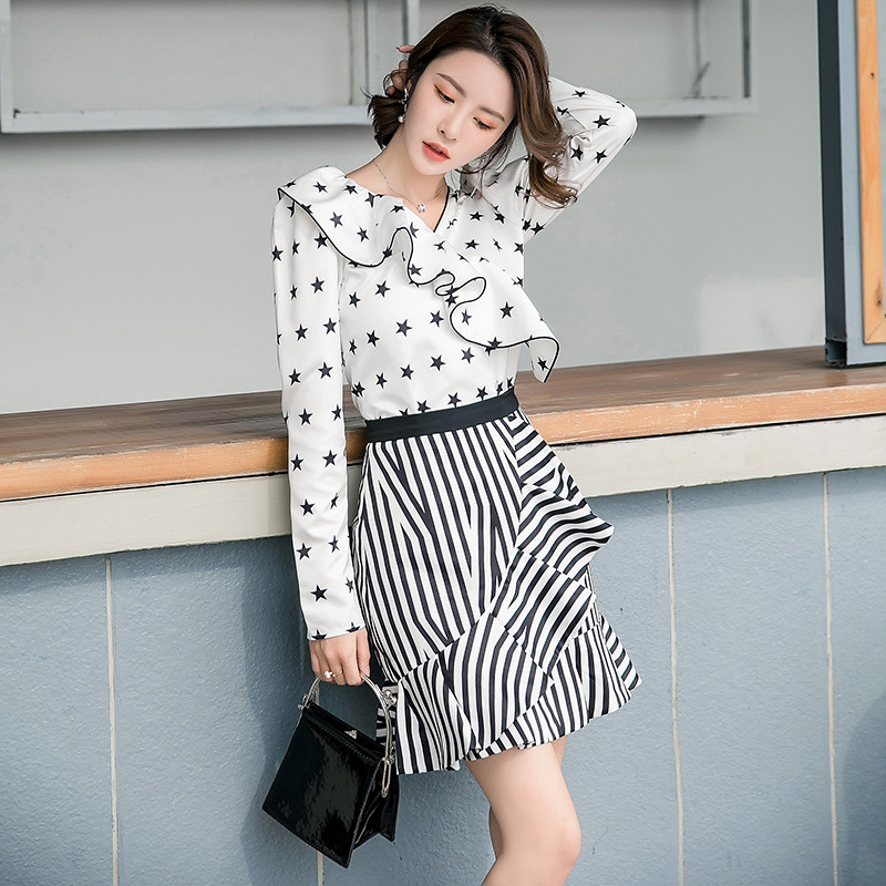 2019 Korean-style Spring And Summer New Style-WOMEN'S Dress Stripes Joint Flounced Skirt