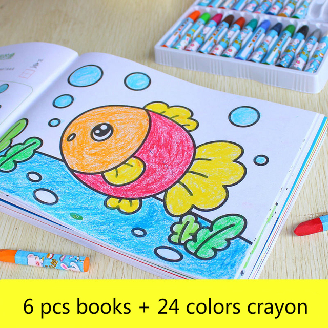 Coloring Drawing Toys For Children Books With Crayon Educational Toys Cartoon Animals Painting Doodle Book Kids Drawing BoardLearning & Education