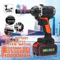 98V 520Nm 3500 tr/min 2 en 1 clé sans fil sans brosse clé à chocs prise électrique 10000mah batterie Lithium-lon Kit d'outils électriques