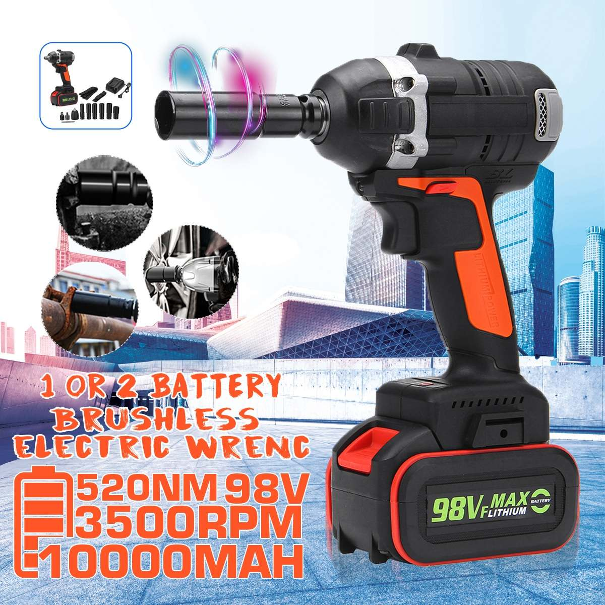 98V 520Nm 3500rpm 2 In 1 Brushless Cordless Wrench Electric Socket Impact Wrench 10000mah Lithium-lon Battery Power Tools Kit