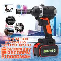 98V 520Nm 3500rpm 2 in 1 Brushless Cordless Wrench Electric Socket Impact Wrench 10000mah Lithium lon Battery Power Tools Kit