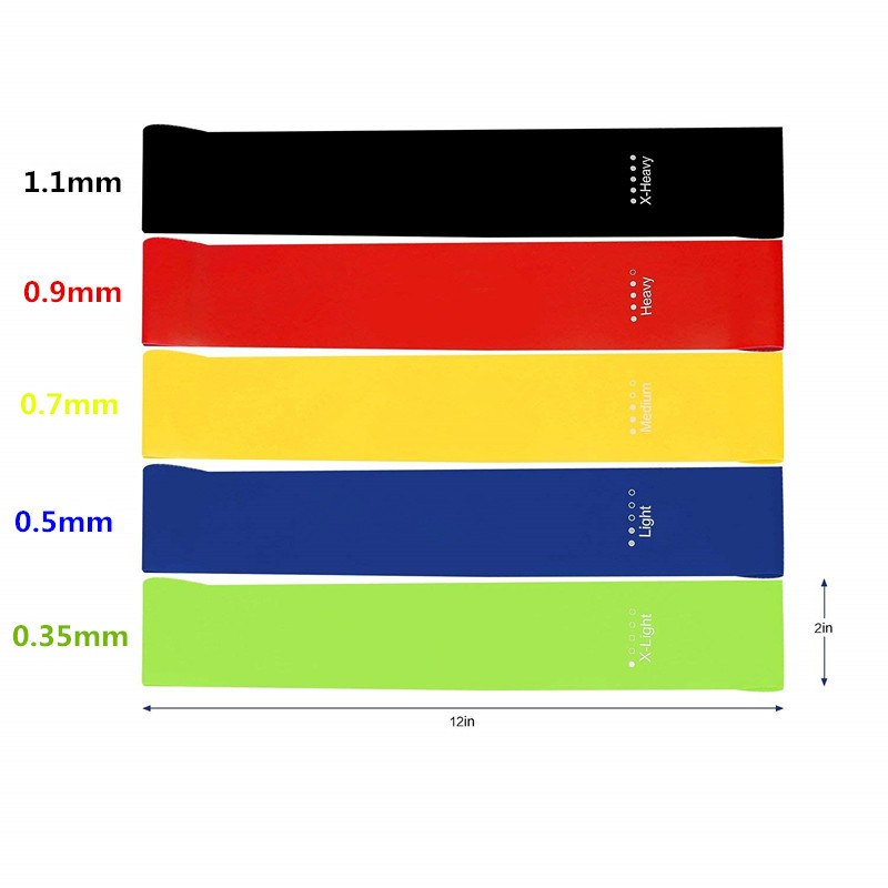 2019 New 5Pcs Yoga Resistance Rubber Bands Indoor Outdoor Fitness Equipment Pilates Sport Training Workout Yoga Elastic Bands