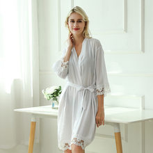 Satin Dress Womens Tops and Blouses Silk Robes Bath Robe Long Maid of Honor Robe Womens Clothing Long Kimono(China)