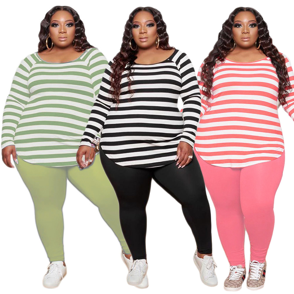 Plus Size Women's Casual Striped Printed Round Neck Long Sleeve Trousers Suit Bulk Items Whole Lots Leggings Drop Shipping