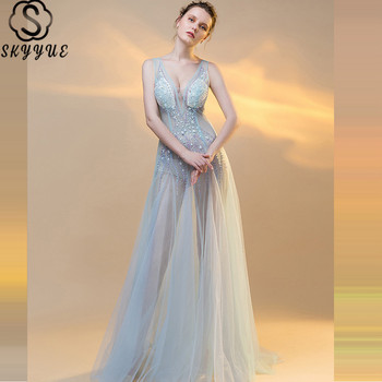 Skkyue Beading Sleeveless Evening Dresses Sexy Illusion V-Neck Robe De Soiree A-Line Tank Women Party Dresses H017