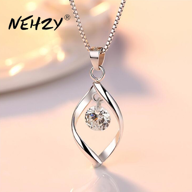 NEHZY 925 sterling silver women's fashion new jewelry high quality crystal zircon retro simple pendant necklace long 45CM 1