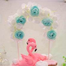 1Pc Romantic Cloth Cake Topper Artificial Rose Flower Arch Cake Topper DIY Wedding Party birthday party favor supplies(China)