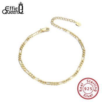 Effie Queen Classic Diamond-Cut Figaro Chain Ecliptic Anklet  Real 925 Silver Delicate Adjustable Leg Jewelry Gift SA07
