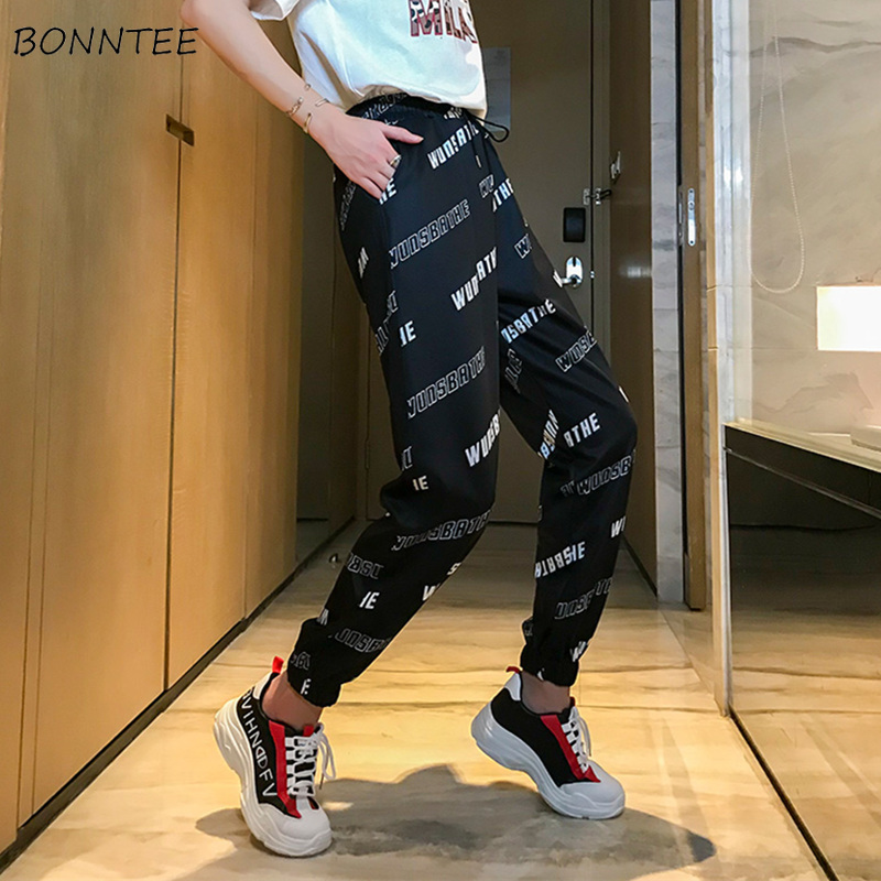 Pants Women Simple High Waist Hip Hop Harajuku Womens Korean Style Letter Pockets Ankle-Length Harem Trousers Leisure Trendy New