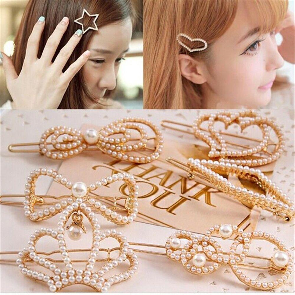 1pcs New Fashion Beautiful Pearl Barrette Women Korean Design Hair Clip Snap Barrette Stick Hairpin Bobby Pin Hair Accessories
